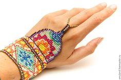 Купить Браслет из бисера Мехенди - разноцветный, индийский стиль, мехенди, бисерный браслет, браслет из бисера