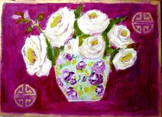 Hey, I found this really awesome Etsy listing at https://www.etsy.com/listing/206786553/magenta-with-white-roses-print