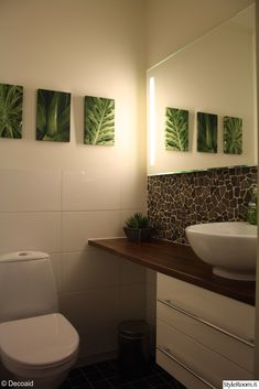 A mirror with two strip lights running down either side. Strip Lighting, Small Bathroom, Bathroom Ideas, Powder Room, Bathroom Lighting, Toilet, Mirror, Furniture, Home Decor