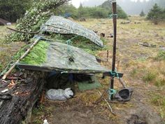NOTES:  I use Mil. spec. poncho shelter because when you nee it. it works!  Use bungee cords to reduce stress no the tarp.
