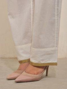 #white #cotton #pants #jaypore Plazzo Pants, Salwar Pants, Kurta With Pants, Salwar Dress, Kurta Designs Women, Salwar Designs, Salwar Pattern, Sewing Pants, Dress Neck Designs