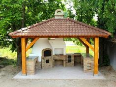 Outdoor Kitchen Patio, Pizza Oven Outdoor, Outdoor Kitchen Design, Outdoor Cooking, Patio Design, Backyard Pavilion, Backyard Patio, Backyard Projects, Outdoor Projects