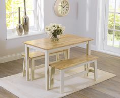 Bonsoni is proud to present this Claire Oak And Cream Dining Set With 2 Benches. This is a beautiful, strong, and sturdy Dining Table Sets. This Claire Oak And Cream Dining Set With 2 Benches has Oak & Cream finish and Minor Assembly Required. Oak Dining Sets, Dining Set With Bench, Pub Table Sets, Wooden Dining Tables, Extendable Dining Table, Dining Chairs, Dining Room, Compact Dining Table, Small Dining