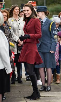 Kate recycled a Paule Ka skirt suit for her outing in South Wales.  Photo: © Rex