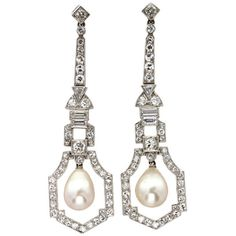 Preowned Art Deco Natural Pearl Diamond Drop Earrings ($65,121) ❤ liked on Polyvore featuring jewelry, earrings, multiple, cluster drop earrings, pearl diamond earrings, diamond earrings, geometric earrings and diamond cluster earrings