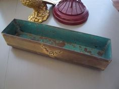 Vintage IRVING & SCHWARTZ CO. Brass Planter Box Cleveland, Oh Teal Interior in Collectibles, Metalware, Brass   eBay