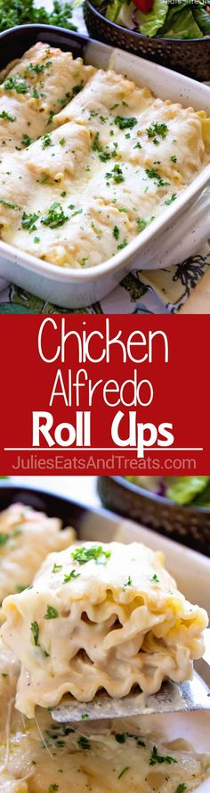 Chicken Alfredo Rollups ~ Creamy and Delicious! Lasagna Noodles Stuffed with Chicken, Cheese and Garlic Alfredo Make for a Quick and Delicious Dinner! ~ https://www.julieseatsandtreats.com