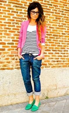 blue striped shirt and pink cardigan!