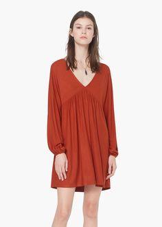 Vestido escote pico -  Mujer | MANGO