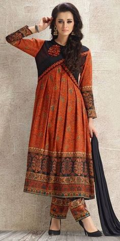 Lavish Orange And Black Anarkali Suit.