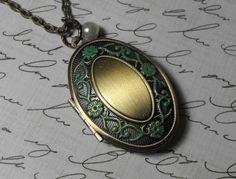 Verdigris Locket  Necklace Lock Key Locket by CreativePleasuresEtc