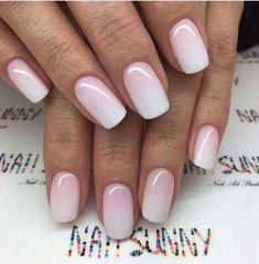nails pink and white & nails pink ; nails pink and white ; nails pink and black ; nails pink and blue ; nails pink and gold Ombre French Nails, Pink Ombre Nails, Pink White Nails, Glitter Nails, Essie, Cute Nails, Pretty Nails, Hair And Nails, My Nails