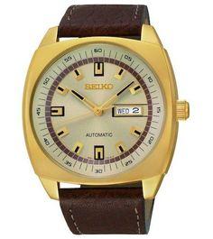 Seiko Automatic SNKN02 Men's Watch Gold-Tone Dial Brown Strap