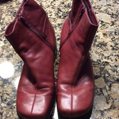 "Clarks Red Leather ankle boots - Never worn Red leather Clarks ankle boots.   Buckle accent, zip on side..  2"" heels Clarks Shoes Ankle Boots & Booties"