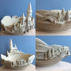 Earth Wool Fire — Transylvania bowl …complete with castle…bridge. Pottery Houses, Ceramic Houses, Ceramic Clay, Ceramic Bowls, Ceramic Pottery, Pottery Art, Clay Houses, Cerámica Ideas, Clay Fairy House