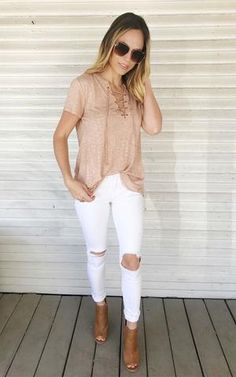 Theo-Peach. Acid washed top. Lace-up neckline. Cute and comfy tee. Lace-up top with jeans and booties.