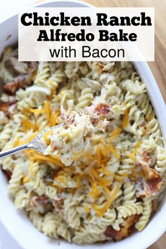 Ranch Chicken Alfredo with Bacon quick dinner recipes Casserole Recipes, Pasta Recipes, New Recipes, Chicken Recipes, Favorite Recipes, Recipies, Chicken Treats, Casserole Dishes, Yummy Recipes