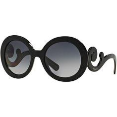 Prada PR27NS Polarised Round Framed Sunglasses , Black (€355) ❤ liked on Polyvore