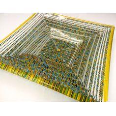 Large Yellow Bowl 30x30x8cm Ian Chadwick Fused Glass Art