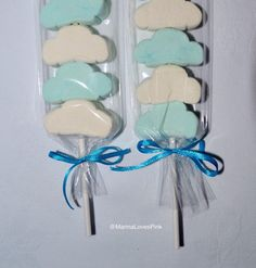 Blue and white fluffy cloud marshmallow pops, party treats, travel theme pops, candy kabobs by MarinaLovesPink on Etsy