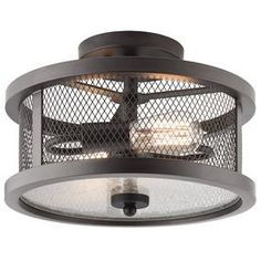 Kichler Olde Bronze Modern/Contemporary Incandescent Semi-flush Mount Light at Lowe's. Add this attractive olde bronze finish semi flush mount fixture to your room for a stylish accent. The metal mesh shade cover adds an industrial flair. Cabin Lighting, Garage Lighting, Bedroom Lighting, Cool Lighting, Foyer Lighting, Kitchen Lighting, Farmhouse Chandelier, Farmhouse Lighting, Houses