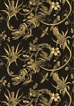 Wallpaper l Tappezzeria in carta, Iguana Superwide, Timorous Beasties, 78,20 euro/m.