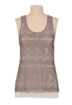 Contrast Lace racerback tank (original price, $26) available at #Maurices
