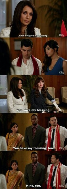 """You have my blessing"" - Jess, Nick, Winston, Schmidt, Cece and Cece's mom #NewGirl"