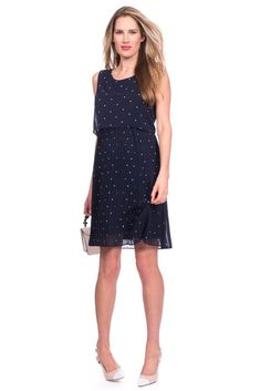 Seraphine Kimmy Two-Layer Pleated Woven Maternity   Nursing Dress (Navy  Spot) e144ab2b24a7