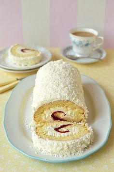 Cherry & coconut swiss roll cake - fatless sponge filled with cherry jam & coconut swiss meringue buttercream, the perfect cake for Mother's Day Swiss Roll Cakes, Swiss Cake, Cake Roll Recipes, Dessert Recipes, Cupcakes, Cupcake Cakes, Just Desserts, Delicious Desserts, Jelly Roll Cake