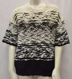 Iro Kailey Sz 2 Ivory Black 100 Merino Wool Short Sleeve Sweater 110266FI | eBay