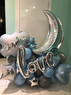 Balloon Display, Balloon Gift, Balloon Decorations Party, Baby Shower Decorations, Baby Boy Balloons, Baby Shower Balloons, Birthday Balloons, Baby Shower Themes, Balloon Bouquet Delivery