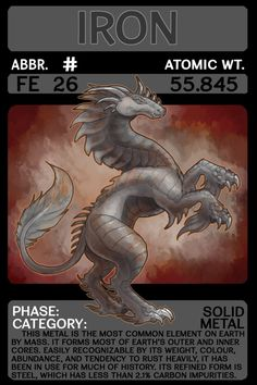 Scygon Elemental Cards- Iron by Lucieniibi on DeviantArt Chemistry Lessons, Teaching Chemistry, Science Chemistry, Physical Education Games, Health Education, Periodic Elements, A Level Biology, Material Didático, Animal Adaptations