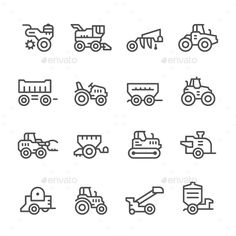Set Line Icons of Agricultural Machinery Isolated on White  ? Available RGB color  ? Good choice for use in infographic and interf