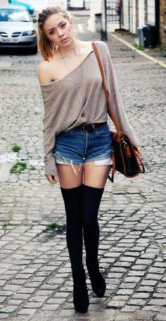 Oversized Taupe Sweater + Cutoffs + Brown Belt + Black Over the Knee Socks + Black Jeffrey Campbells  + Messenger Bag
