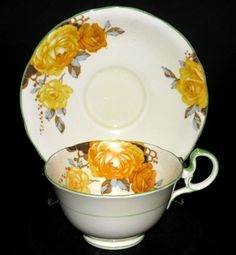 Aynsley Yellow Roses Teacup and Saucer