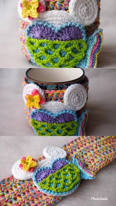 Mermaid Cup Cozy FREE Mouse crochet pattern – Knitting For Beginners Crochet Gifts, Crochet Toys, Free Crochet, Knit Crochet, Crochet Disney, Amigurumi Patterns, Knitting Patterns, Crochet Patterns, Owl Patterns