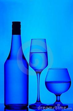 Wine Glasses and Bottle - Blue