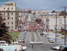 Historical San Francisco:  1969 anti-Vietnam War demonstration at Baker and Fell, as seen from Baker and Page.