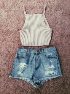 white crop top tank top, Jean ripped shorts