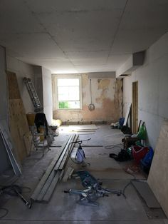 Living room/ kitchen plasterboard all in place