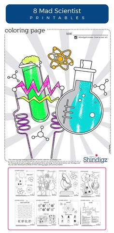 Mad scientist printables are perfect for our Mad Scientist birthday party or just as everyday entertainment for your own 'evil genius.' Choose from science theme coloring pages, amoeba matching games, science crossword puzzles and more!