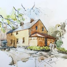 Servant House and kitchen wing at the rear of Vaucluse House. The  home of W.C. Wentworth. #vaucluse #vauclusehouse #heritage #mansions #macquarieEra #watercolour #winsorandnewton #sketch #onLocation #USK #USKAUS #sketchcollector #WCwentworth #dtai #dtaiw