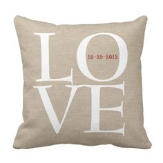 Love customized wedding ceremony date fake linen rustic burlap throw pillow.  Learn more at the photo link