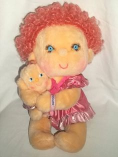 "1985 Kenner Hallmark Hugga Bunch Plush Huggins & Hug A Bye Dolls Pink - Anyone remember ""The Hugga Bunch"" movie? #80s #creepy"