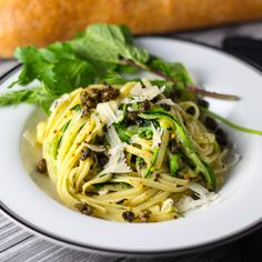 Half Zoodles and Half Linguini with Herbs and Fresh Capers platingsandpairings.com