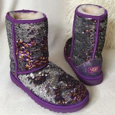 "UGGpurple reversible sequin boots UGG gorgeous reversible sequin boots.  You can leave them as is with a mix or have the silver side showing or the copper and purple side showing.  The difference is shown in second pic. Super fun and stylish and of course comfy   Measures 9"" tall.  Hardly worn. Tag is still on bottom. Excellent condition UGG Shoes Winter & Rain Boots"