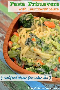 Warm, rich and filling describes this Pasta Primavera with Creamy Cauliflower Sauce
