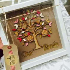 Our family personalised wooden tree in a box frame. You can choose from the listings on the style of tree. If you would like it different than what is in the variations then please just message and we can see if that can be done. Any other colours requirements just message. Once ordered please message me the names you require, price includes up to 4 hearts if you require more they are 20p per extra heart. You can also purchase paw prints for you animals. When ordering add these as hearts and…