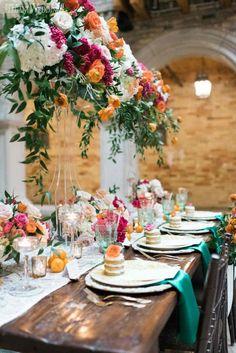 Romantic Spanish-Inspired Wedding With Greenery Romantic Wedding Receptions, Romantic Weddings, Elegant Wedding, Rustic Wedding, Wedding Day, Spring Wedding, Wedding Ceremony, Unique Wedding Colors, Hacienda Wedding